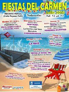 Programación para las Fiestas del Carmen 2016.